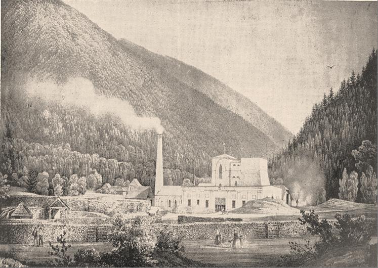 Železárny v Čeladné (okolo r. 1850). Reprofoto z výstavy: Muzeum pro hornické a průmyslové dějiny v Moravské Ostravě, r. 1941.