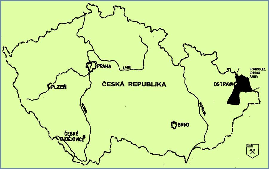 Obrázek 1. Mapka České republiky s Ostravsko-karvinskou pánví na východě.