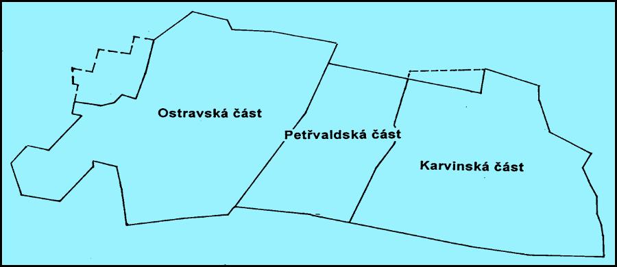 Obrázek 2. Mapka dílčích pánví. OKR byl před r. 1950 provozně rozdělen na tři části: Ostravskou, Petřvaldskou a Karvinskou. V r.1920 byla s Ostravská části sloučena Hlučínská část (ta se nacházela na severozápadě). Kresba J. Klát.