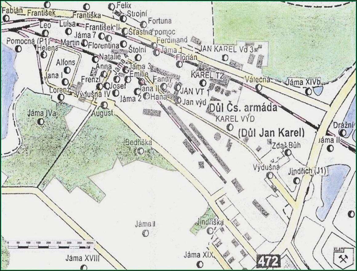 Obrázek 4. Výsek mapky starých zaniklých i současných jam v důlním poli Dolu Jan Karel v Karviné-Dolech. Kresba J. Klát 1999.