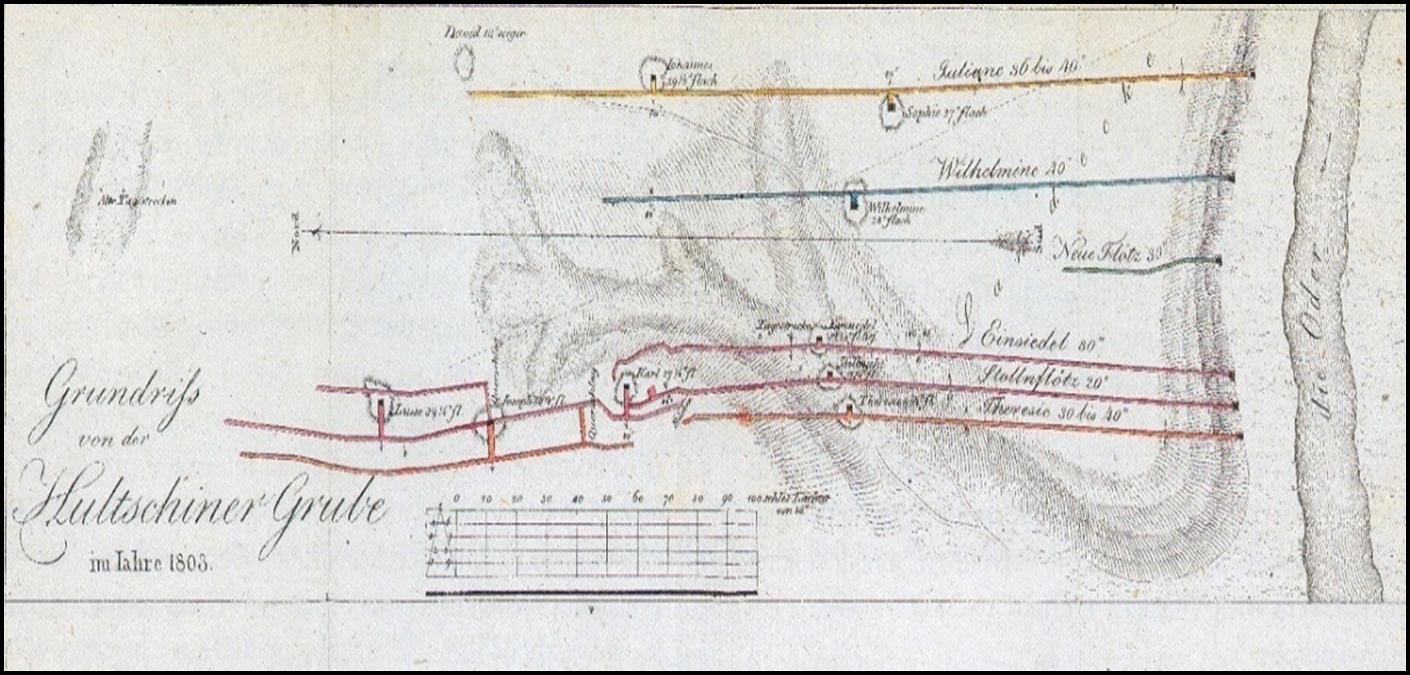 Obrázek 5. Mapa štol a jam Hlučínských dolů (půdorys) a propadlin ústí jam. Napsaný údaj zhotovení mapy r. 1805 je nepřesný (zřejmě se jedná o počátek kreslení mapy), Kresba důlní měřič Strauch. Podnikový Archív OKD, fond Důl Anselm.