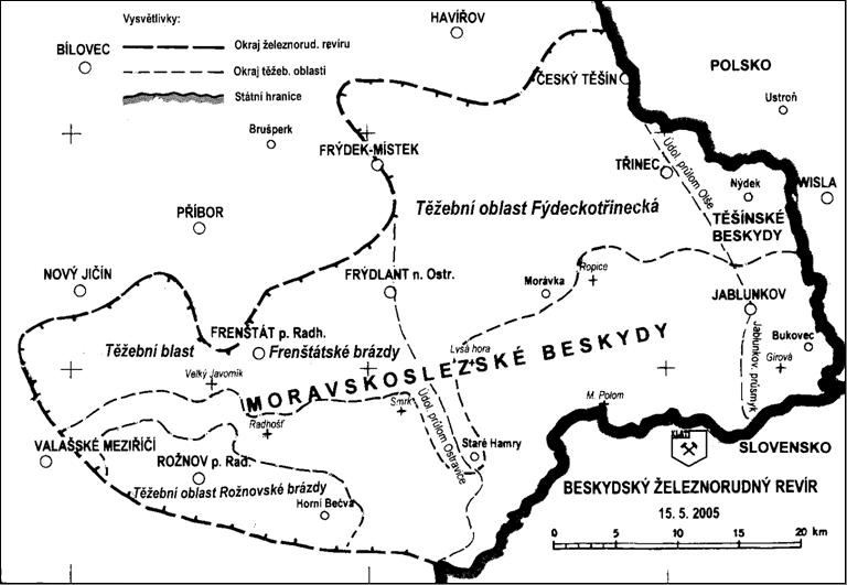 Mapa Beskydské oblastí