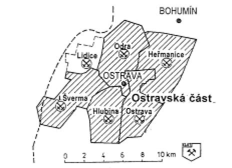 Obr. 2 Utlumené ostravské důlní závody OKD, a.s. (J. Šverma, Odra, Ostrava a Heřmanice) v letech 1991–1994