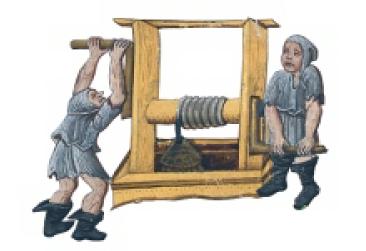 Práce s rumpálem na výřezu z Kutnohorského graduálu (kancionálu), cca 1490. Österreichische Nationalbibliothek, Vídeň.