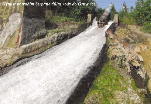 Výpust potrubím čerpané důlní vody do Ostravice
