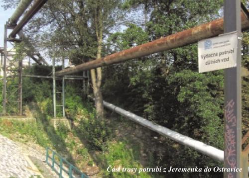 Část trasy potrubí z Jeremenka do Ostravice