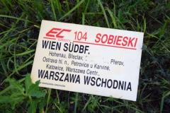 Původní tabulka z vlaku EC104 Sobieski, který havaroval 7.7.1997 u Jeseníku nad Odrou - foto z netu